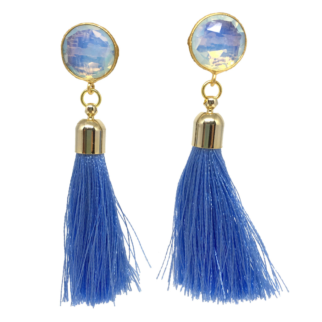 Tassel Drop Earrings | Light Blue + Moonstone - burnmark