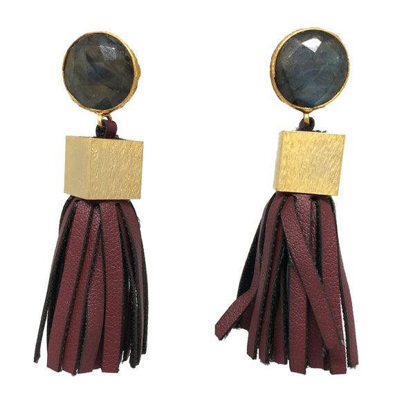 Leather Tassel Earrings | Crimson + Labradorite - burnmark