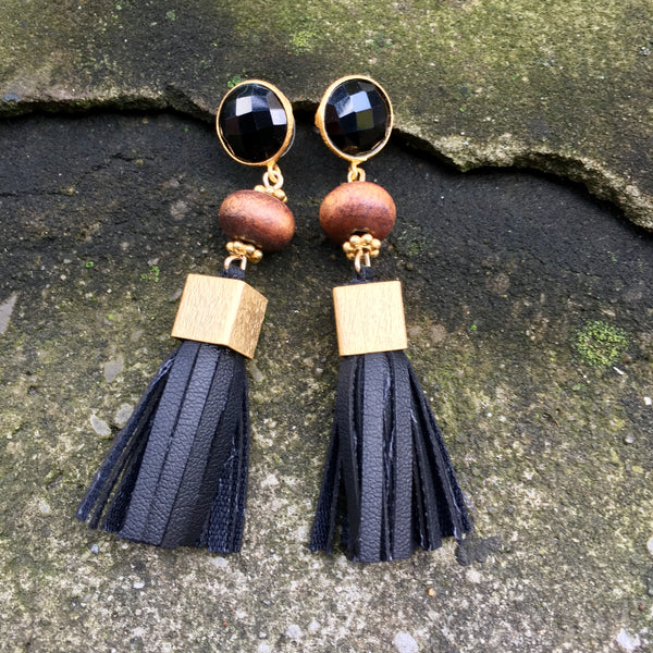 Leather Tassel Earrings | Rosewood + Onyx - burnmark