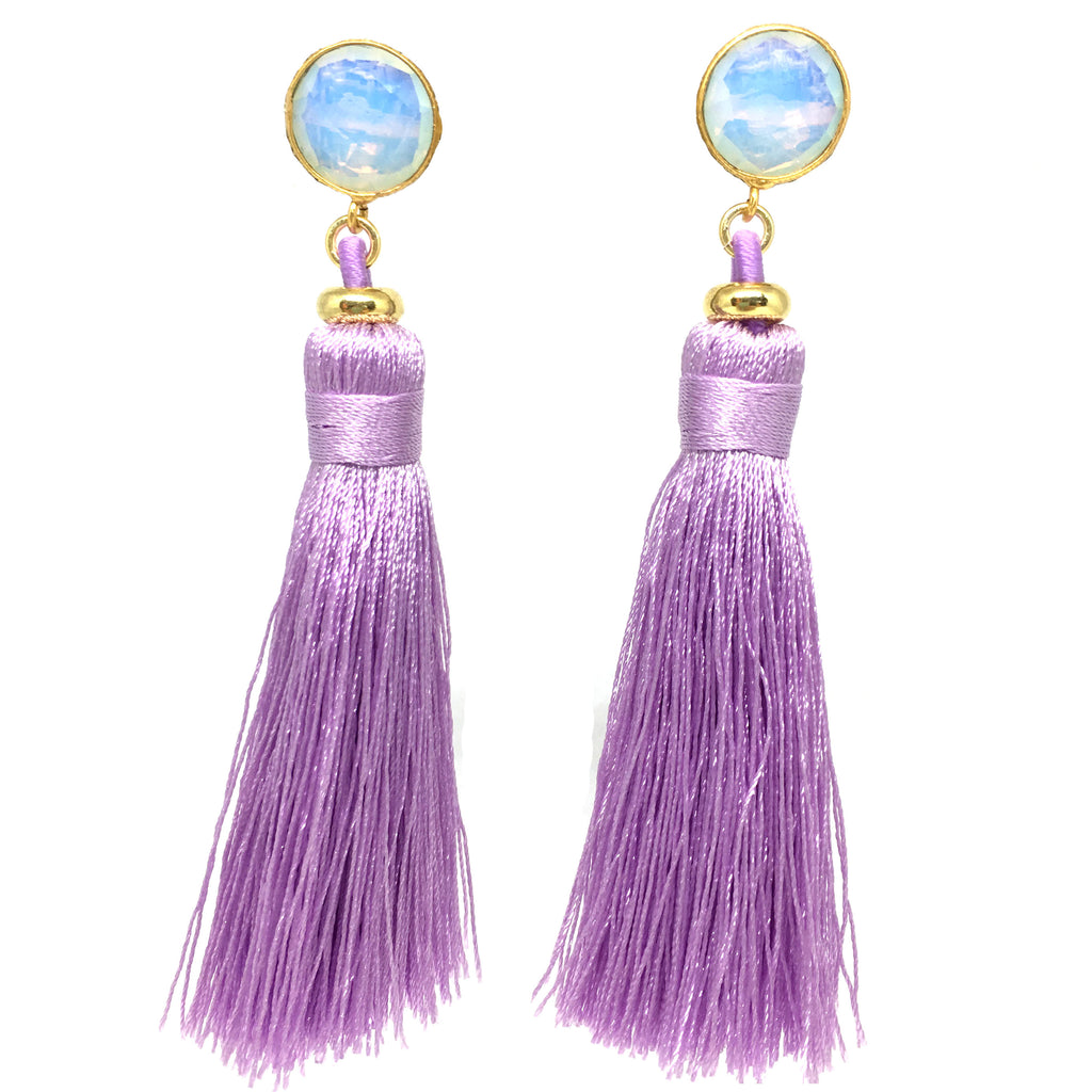 Tassel Earrings | Lilac + Moonstone - burnmark