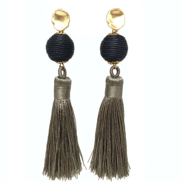 Silk Tassel Earrings | Taupe + Onyx - burnmark