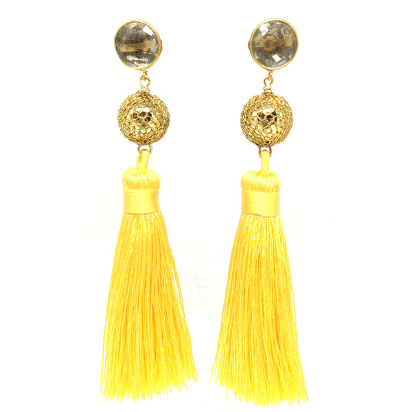 Silk Tassel Earrings | Yellow + Disco Ball - burnmark
