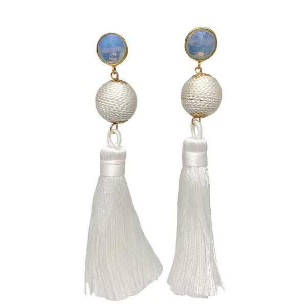 Silk Tassel Earrings | White + Moonstone - burnmark