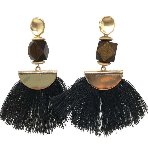 Tassel Earrings | Rosewood + Black - burnmark