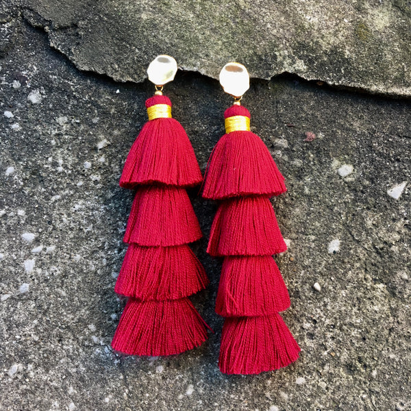 Four Tier Tassel Earrings | Red + Matte Gold - burnmark