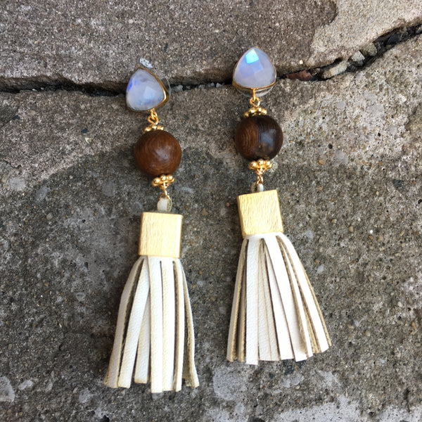 Leather Tassel Earrings | Rosewood + Cream - burnmark