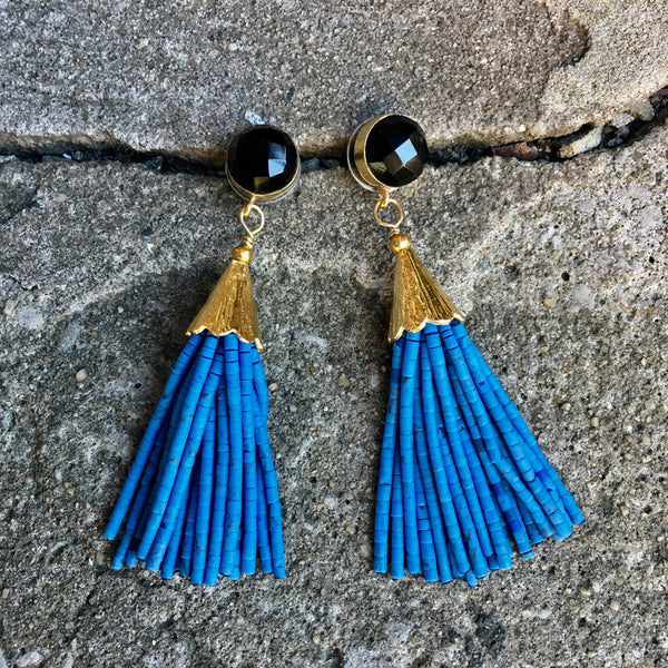 Short Tassel Earrings | Teal + Onyx - burnmark
