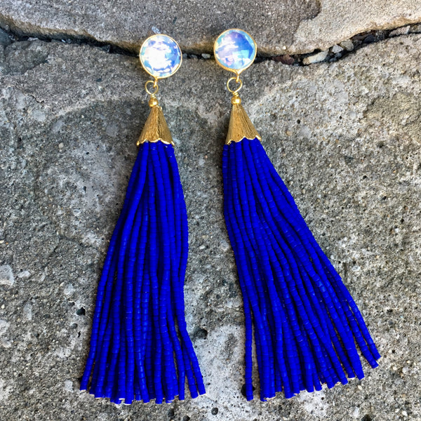 Long Tassel Earrings | Cobalt + Moonstone - burnmark