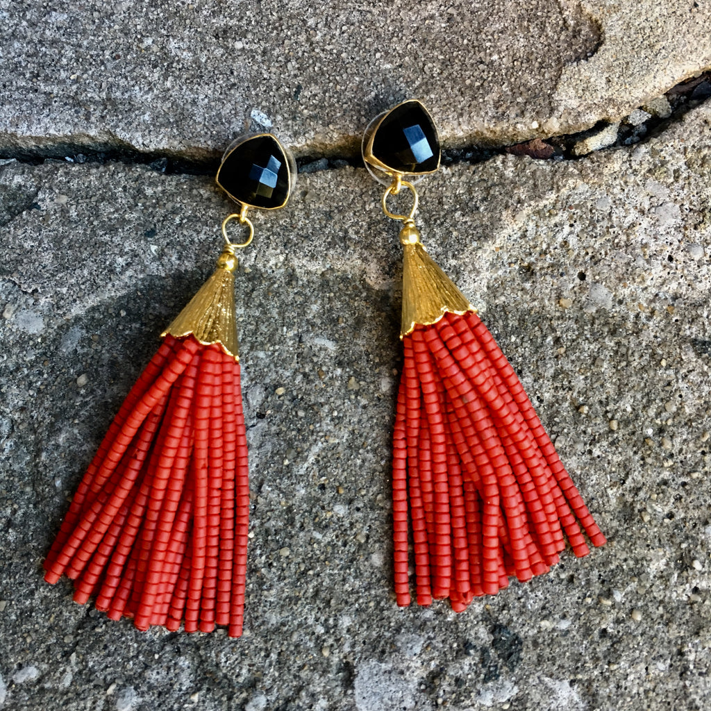 Short Tassel Earrings | Red + Onyx - burnmark