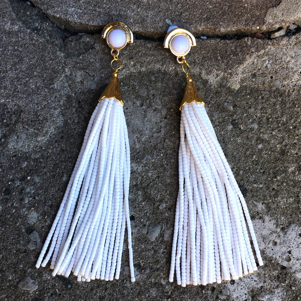 Long Tassel Earrings | White - burnmark