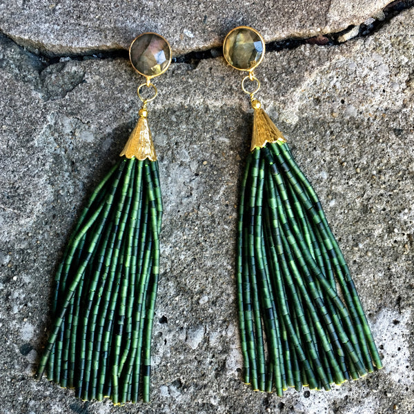 Long Tassel Earrings | Seaweed + Labradorite - burnmark