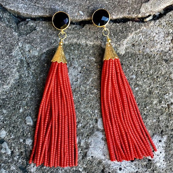 Long Tassel Earrings | Red + Onyx - burnmark