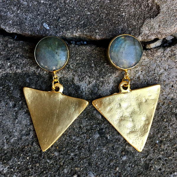 Triangle Drop Earrings | Labradorite - burnmark