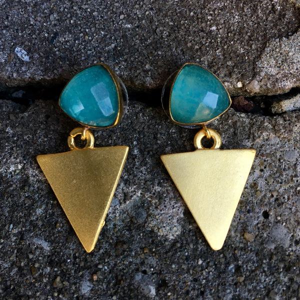 Triangle Drop Earrings | Chalcedony - burnmark