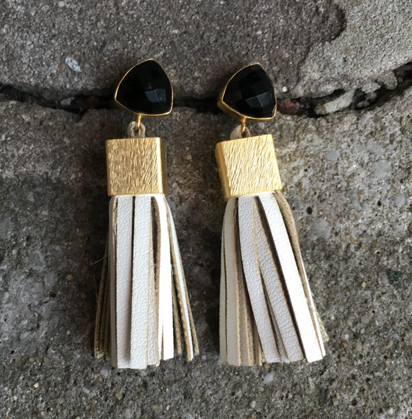 Leather Tassel Earrings | Cream + Onyx - burnmark