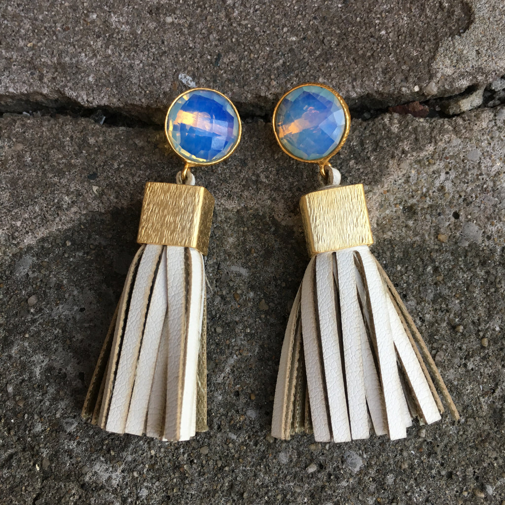Leather Tassel Earrings | Cream + Moonstone - burnmark