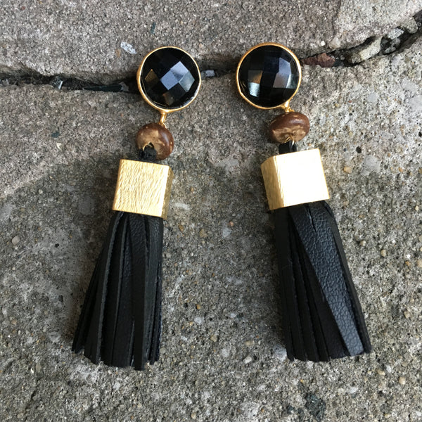 Leather Tassel Earrings | Pukalet + Onyx - burnmark