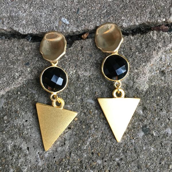 Triangle Drop Earrings | Onyx + Matte Gold - burnmark