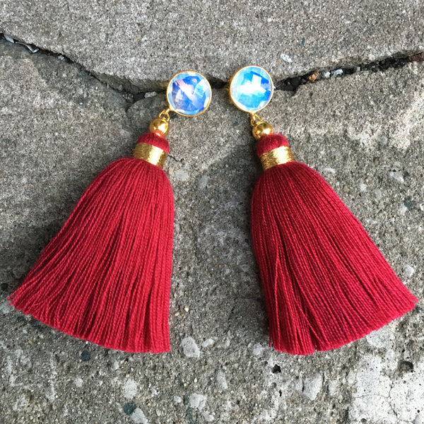 Tassel  Earrings | Red + Moonstone - burnmark