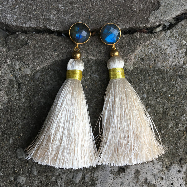 Tassel  Earrings | Cream + Labradorite - burnmark