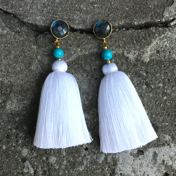 Tassel  Earrings | White + Labradorite - burnmark