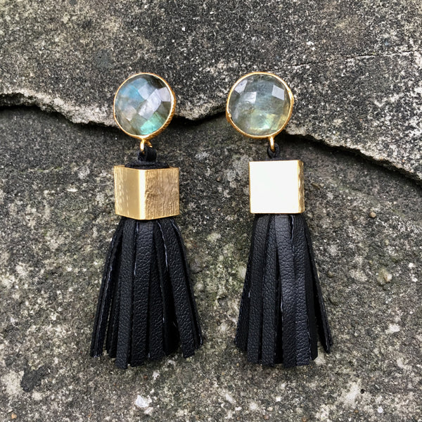 Leather Tassel Earrings | Black + Labradorite - burnmark
