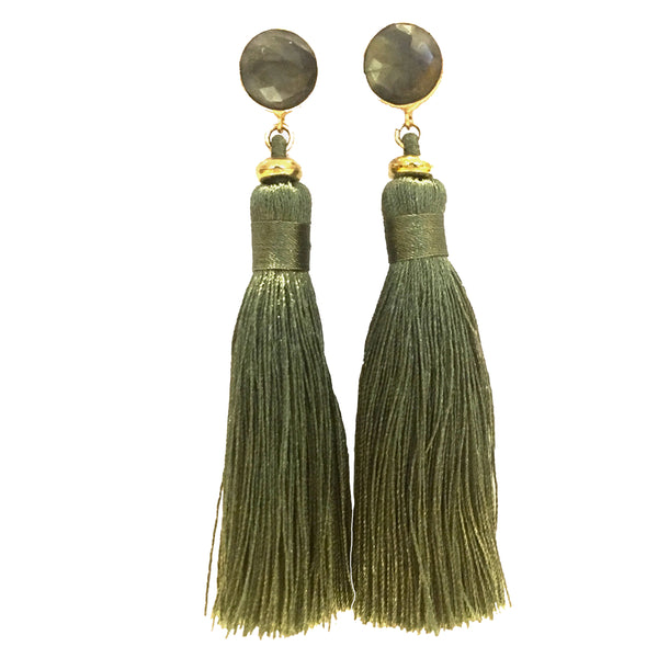 Tassel Earrings | Spruce + Labradorite - burnmark