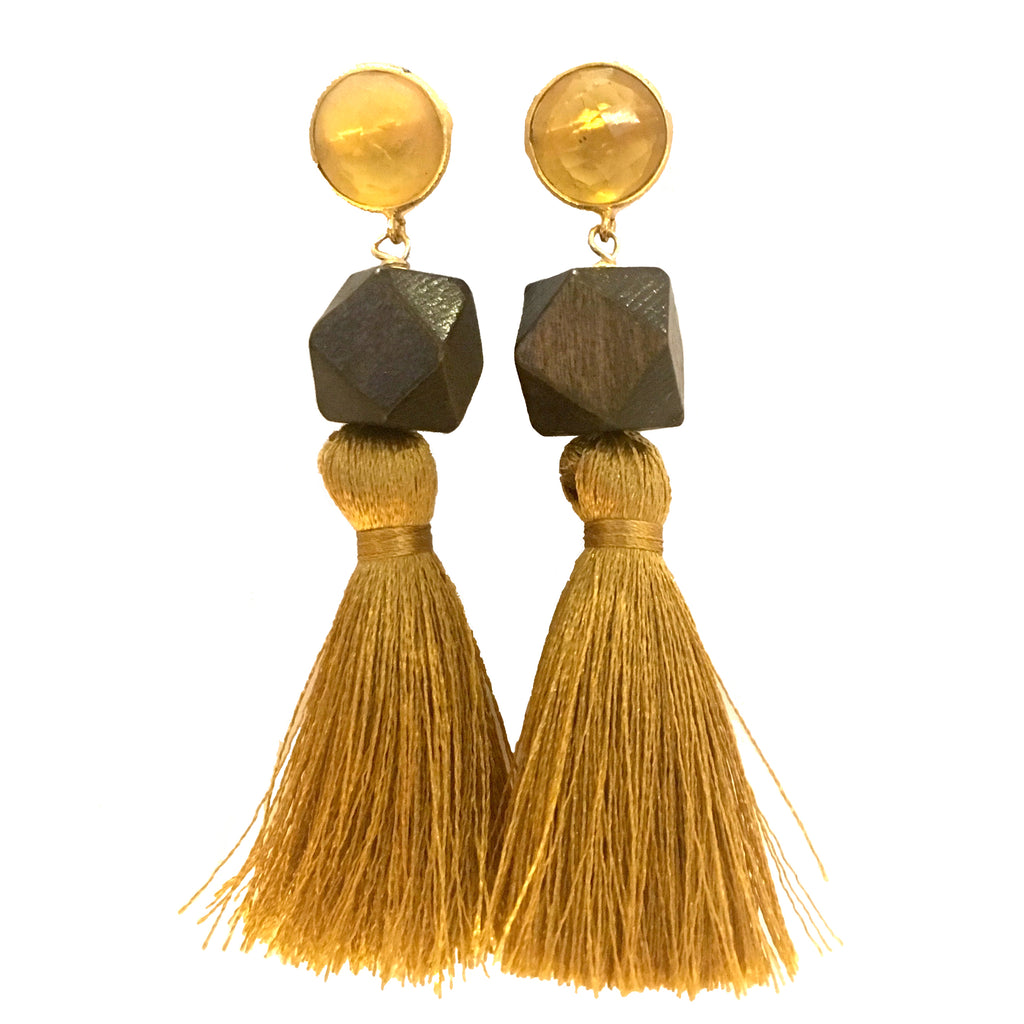 Cotton Tassel Earrings | Citrine + Rosewood - burnmark