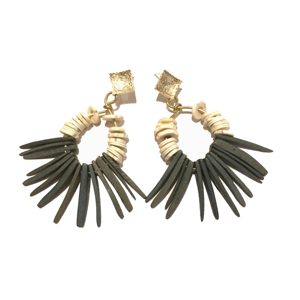 Fringe Hoop Earrings | Coconut + Ostrich Egg Shell - burnmark