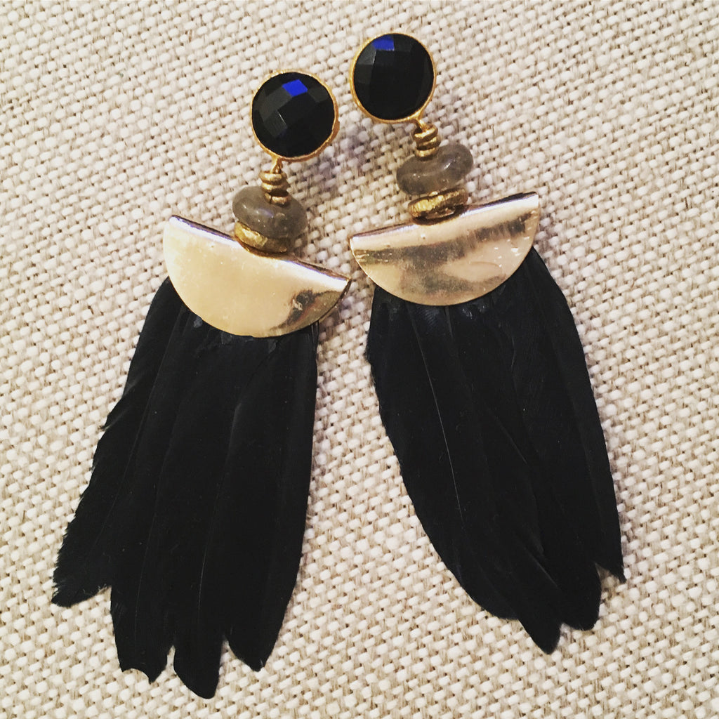 Feather Earrings | Nigerian Brass + Onyx - burnmark
