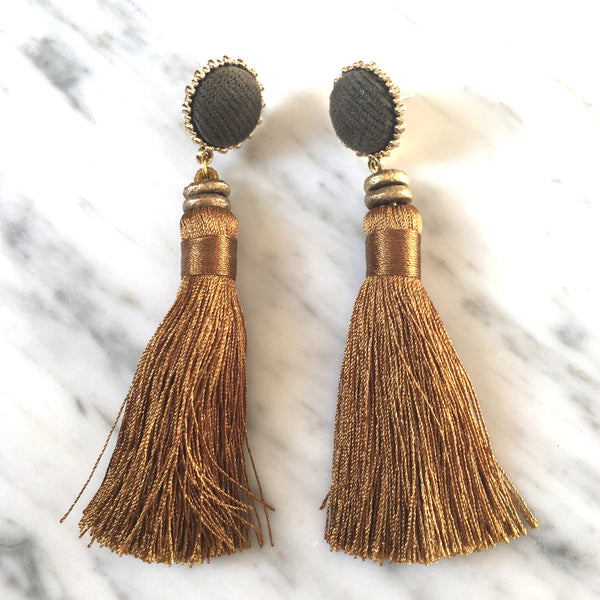 Tassel  Earrings | Bronze + Charcoal - burnmark