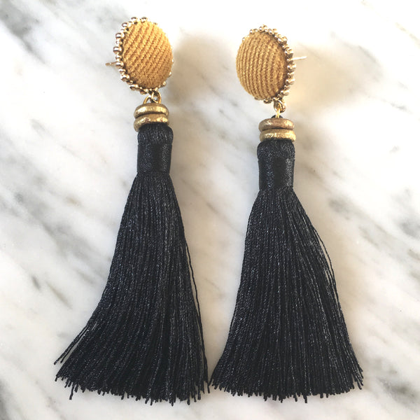 Tassel  Earrings | Black + Tawny Gold - burnmark