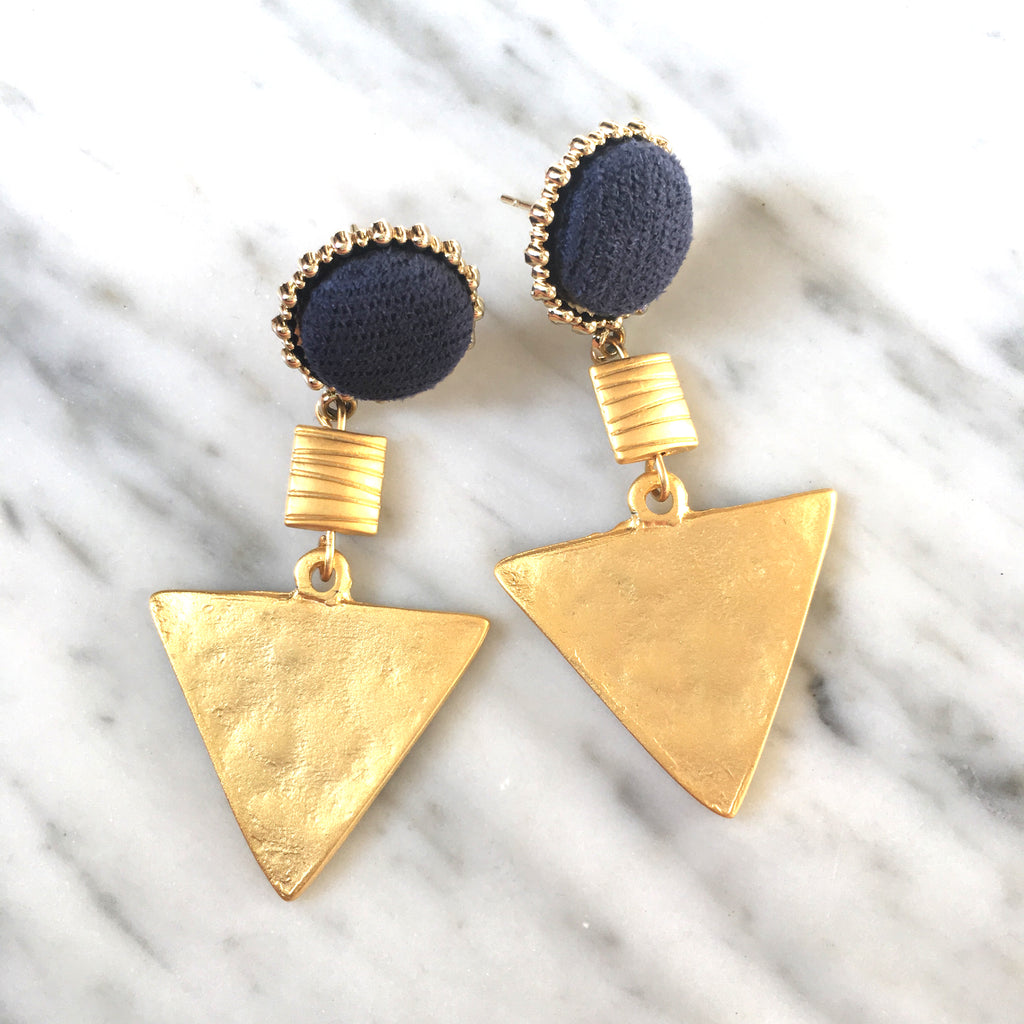 Triangle Drop Earrings | Navy + Matte Gold - burnmark