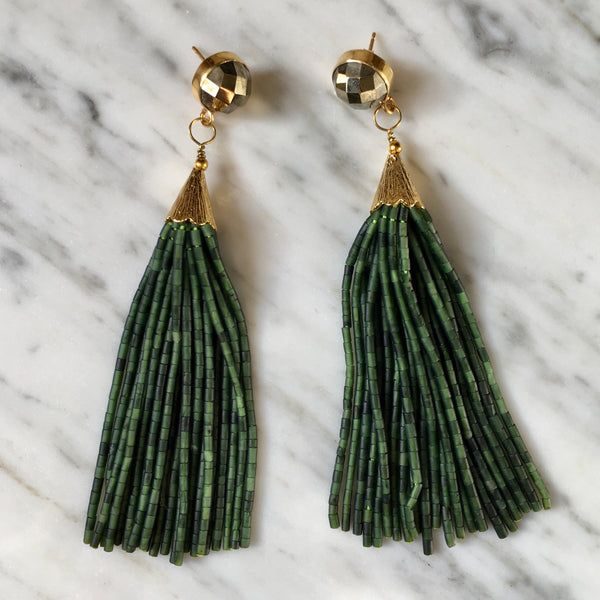 Long Tassel Earrings | Seaweed + Pyrite - burnmark
