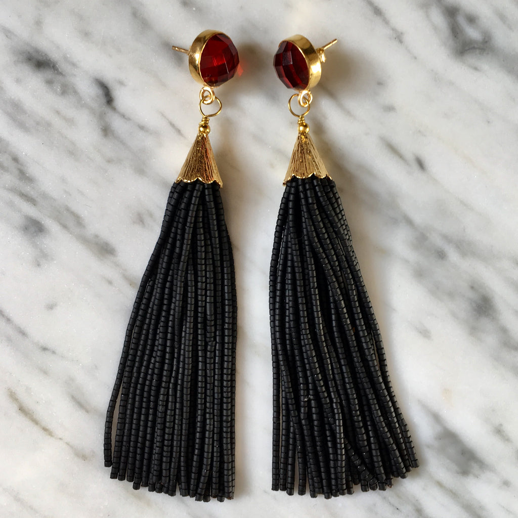 Long Tassel Earrings | Black + Garnet - burnmark