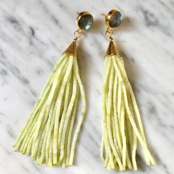 Long Tassel Earrings | Chartreuse + Labradorite - burnmark