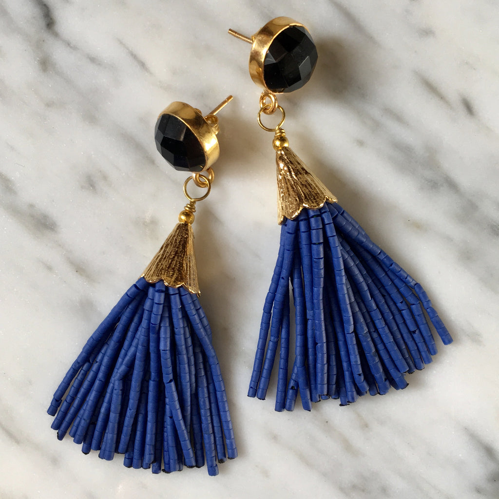 Short Tassel Earrings | Cobalt + Onyx - burnmark