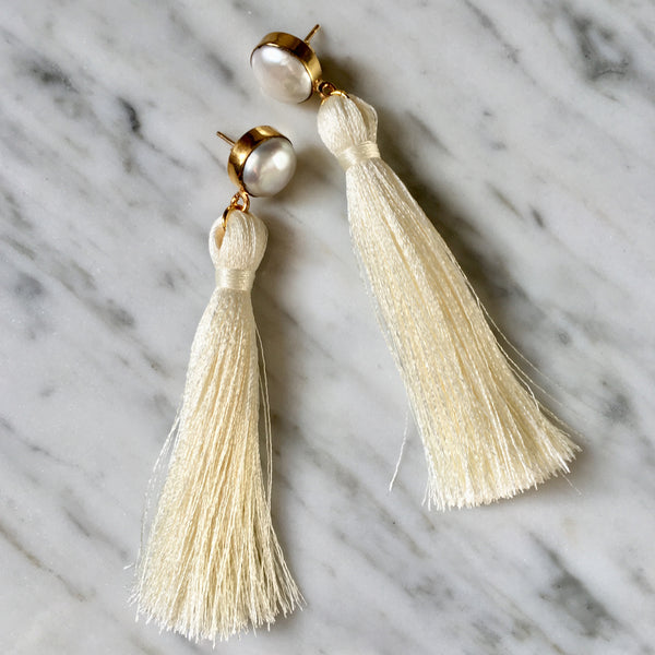 Tassel Earrings | Cream + Pearl - burnmark