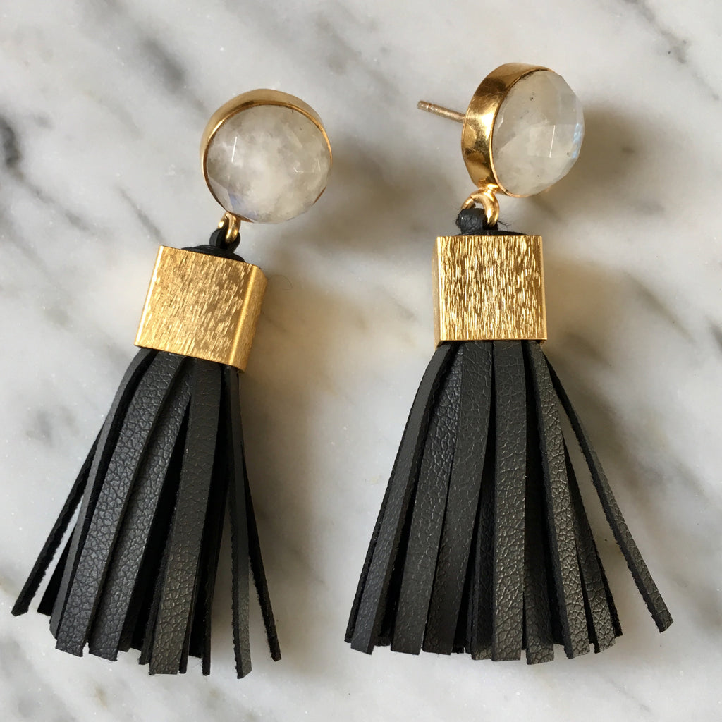 Leather Tassel Earrings | Charcoal + Moonstone - burnmark