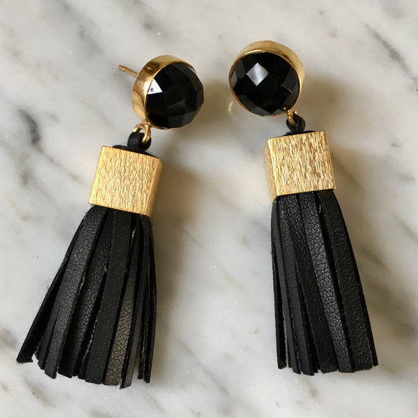 Leather Tassel Earrings | Black + Onyx - burnmark