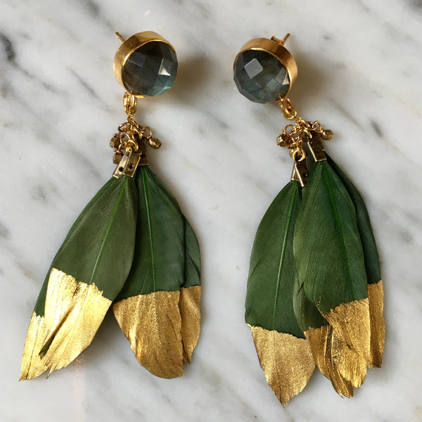 Gold Dipped Feather Earrings | Hunter Green + Labradorite - burnmark