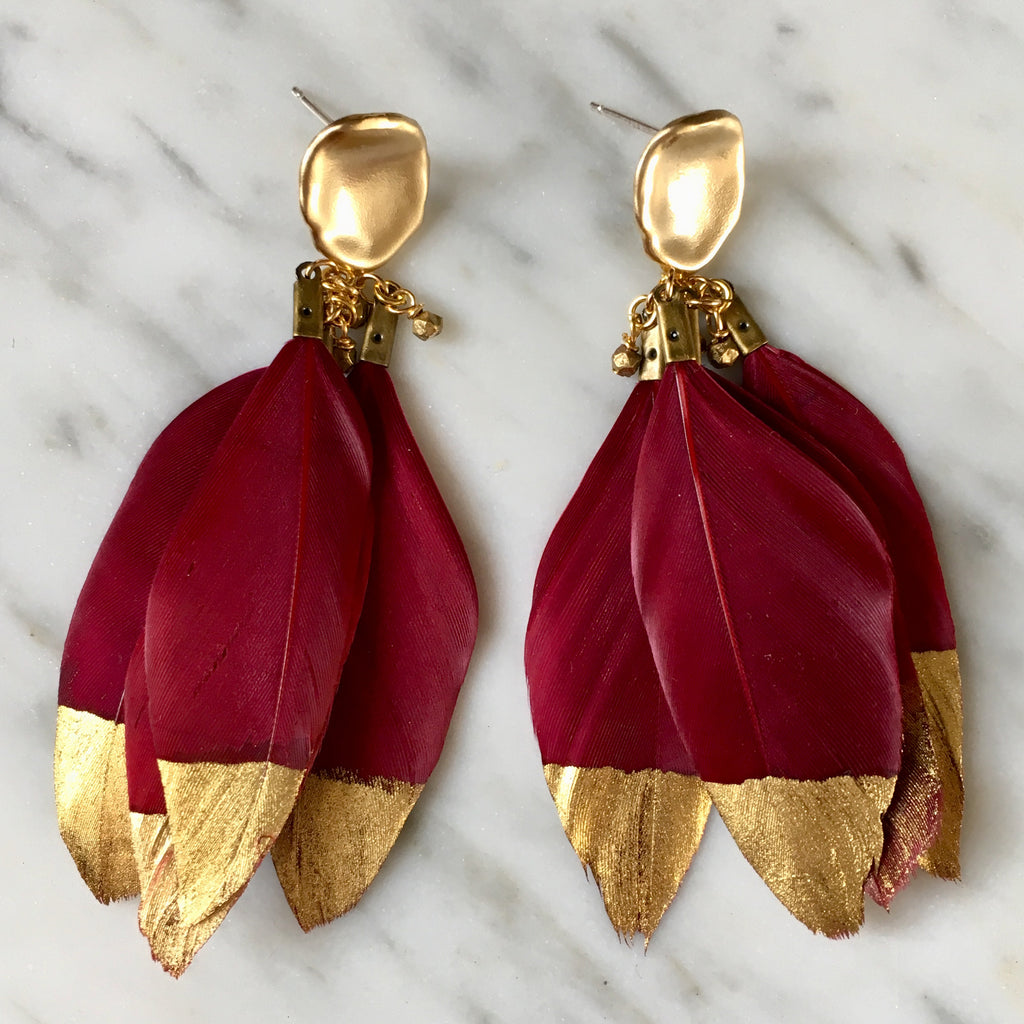 Gold Dipped Feather Earrings | Maroon + Matte Gold - burnmark