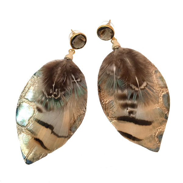 Mixed Feather Earrings | Metallic Gold + Smoky Quartz - burnmark