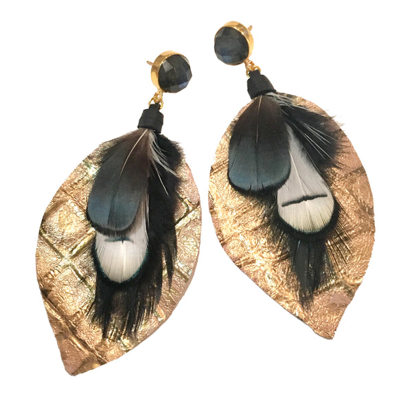 Mixed Feather Earrings | Metallic Gold + Onyx - burnmark