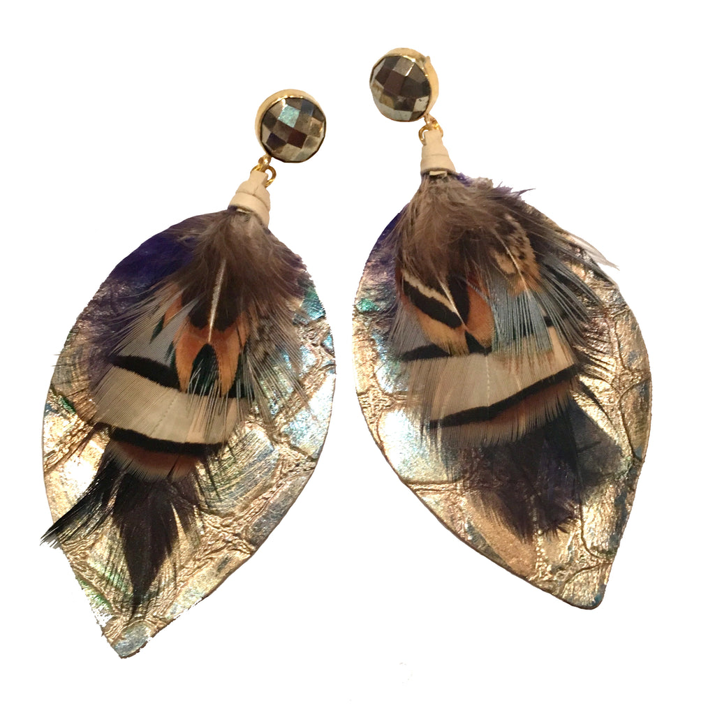 Mixed Feather Earrings | Metallic Gold + Pyrite - burnmark