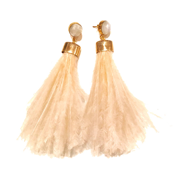 Ostrich Feather Earrings | Peach + Moonstone - burnmark