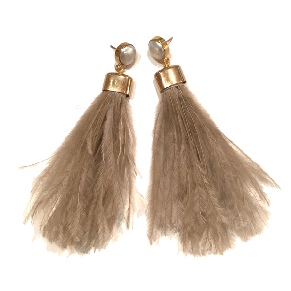 Ostrich Feather Earrings | Beige + Pearl - burnmark
