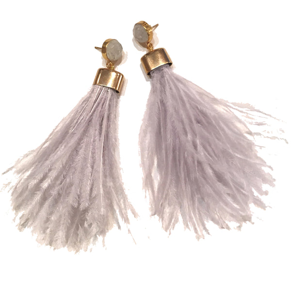 Ostrich Feather Earrings | Pale Grey + Moonstone - burnmark