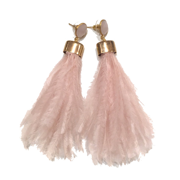 Ostrich Feather Earrings | Pale Pink + Rose Quartz - burnmark