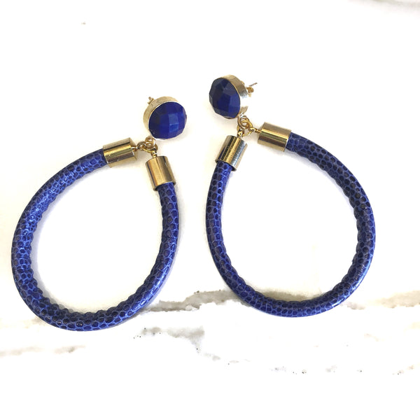 Python Hoop Earrings | Lapis - burnmark